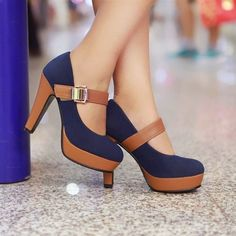 Blue and brown high heels shoes