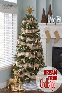 Gold and Burlap Christmas Tree by @Linda Bruinenberg Norris Rasowsky It and Love It #JustAddMichaels