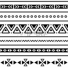 Aztec seamless pattern, tribal black and white background Stock Photo - 19482145
