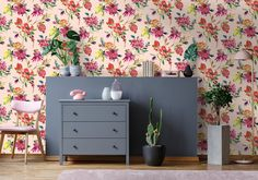 Bring the outside in with our fantastic floral wallpapers. 🌾 🌷 🌺 🌹#floralwallpaper #interiorstyling #featurewall Blush Pink Wallpaper, Metallic Wallpaper, Wallpaper Decor, Home Wallpaper, Wallpaper Roll, Nature Wallpaper, White Chest Of Drawers, Piece A Vivre, Colored Highlights