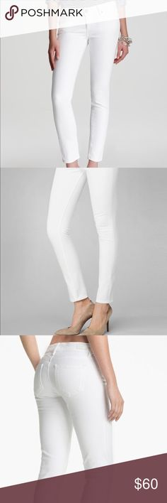 "Paige skyline skinny white jeans, sz 27 Skinny Ankle Crop. Look perfectly polished for day or night in our popular skinnies, reworked with a 29"" inseam that grazes the ankle. It's a stylish, tapered mid-rise that looks equally as chic with sandals or stilettos. Paige Jeans Pants Skinny"