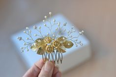 Wedding comb Gold roses hair comb pearl vines hair back Bridal head piece gold lieves hair comb exquisite by Vualia on Etsy