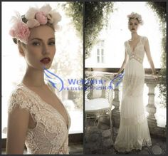 Vintage-Sheath-Lace-Wedding-Dress-White-Ivory-Boho-Bridal-Gown-Size-2-4-6-8-10