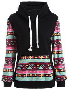 Casual Geometric Print Pullover Hoodie in Black | Sammydress.com