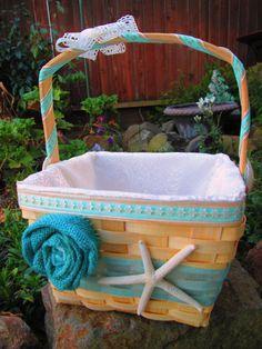Blue Starfish Beach Flower Girl Basket by BridalSprinkles on Etsy, $49.00