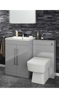 Buy the Vellamo Aspire 2 Door Combination Basin & Toilet Unit - Gloss Grey at Tap Warehouse and add a modern twist to your bathroom! Bathroom Interior, Elegant Bathroom, Toilet And Basin Unit, Bathroom Units, Back To Wall Toilets, Vanity Units, Rustic Bathrooms, Bathroom Interior Design, Bathroom Design Inspiration