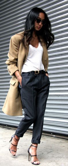 Menswear Inspired Fashion Trend: Linh Niller Huynh is wearing a camel coloured coat: from J.Crew, trousers from Joe Fresh and the white shirt is from James Perse