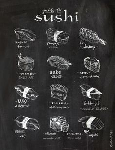 This hand drawn illustrated Guide to Sushi is the perfect gift for the sushi lover or Japanese food lover or foodie! It makes for great wall decor in a