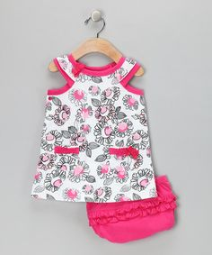 Take a look at this White & Pink Flower Bow Dress & Diaper Cover - Infant & Toddler by Absorba on #zulily today!