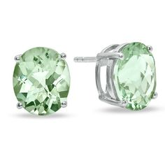 Oval Green Quartz Stud Earrings in Sterling Silver - Zales.  I have these and love them!!!!