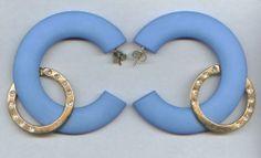 Creolen, Ohrringe, Ohrhänger - Ø 6 cm in blau - modisch & elegant - nickelfrei