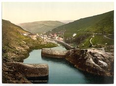 Photos of Cornwall. More Than 100 Years Ago Boscastle Harbour, Looking West