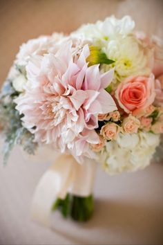 Gorgeous bouquet with blush roses and dahlias.