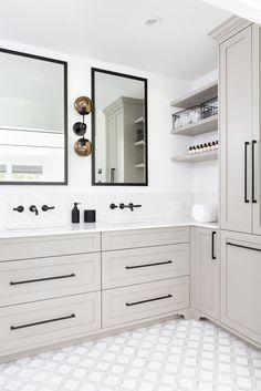 Rustic Home Interior silver gray vanity cabinet with white walls and black accents.Rustic Home Interior silver gray vanity cabinet with white walls and black accents Large Bathrooms, Grey Bathrooms, Bathroom Renos, Small Bathroom, Master Bathroom, Bathroom Ideas, Bathroom Organization, Bathroom Designs, Minimal Bathroom