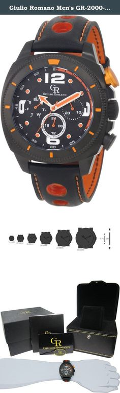 Giulio Romano Men's GR-2000-13-079 Pescara Black IP Case with Orange Aluminum Pusher Black Leather with Orange Lining and Topstitching Dual-Time Day-Date Watch. Catch every eye with the striking Pescara Black and Orange Watch from Giulio Romano. This timepiece is as functional as it is attractive, with ISA 9238 quartz movement, luminous numbers, and a genuine black leather strap with an orange lining and topstitching. Diagram of Features .