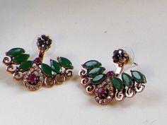 EarringsBohemian Ethnic Emerald  Ruby earringsEar by JewellryPot
