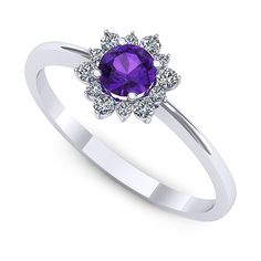 Inel de logodna realizat din aur alb, cu ametist rotund si 6 diamante Heart Ring, Sapphire, Aur, Rings, Jewelry, Fashion, Jewellery Making, Moda, Jewerly
