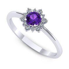 Inel de logodna realizat din aur alb, cu ametist rotund si 6 diamante