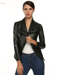 Women Solid Black Silver cool motorcycls Coat  Full Sleeve turn-down collar Asymmetrical Leather Jacket
