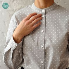 """Купить Сорочка """"Горошек"""" - серый, в горошек, сорочка, рубашка, рубашка из хлопка, рубашка женская, горошек"""