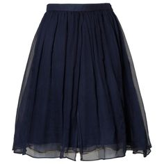 Saint Laurent Vintage Layered Navy Blue Silk Chiffon Skirt | From a collection of rare vintage skirts at https://www.1stdibs.com/fashion/clothing/skirts/