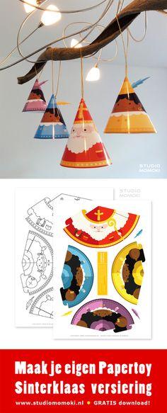 Maak je eigen Papertoy Sinterklaas versiering. Download je gratis bouwpakketje via www.studiomomoki.nl -