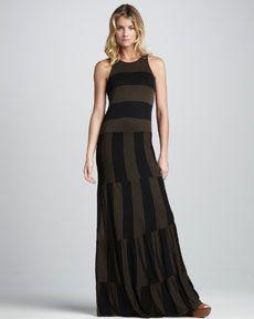 T56XV Ella Moss Vida Striped Maxi Dress