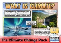 Learn about climate change, its effects and what we can do to help, with our enormous teaching pack. It includes topic guides, a video introduction, printable activity resources and display materials. Science Curriculum, Science Resources, Activities, What Is Climate, Teaching Packs, Parts Of The Earth, About Climate Change, How To Get Warm, Geography