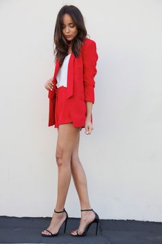 Ring My Bell: Shorts & Blazer: Bec & Bridge.  Sandals: Saint Laurent. Cropped Cami: TopShop.