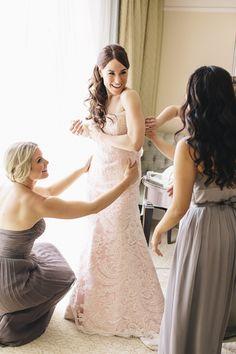 Blush pink wedding dress, front.