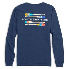 Southern Tide Long Sleeve Canoe Dig It - Heather Navy
