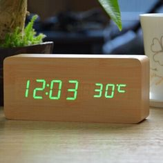Antique Desktop Clocks With Three Alarm Group LED Silent Clock Digital Watch Board Bedroom Wooden Bamboo Despertador Home Decor Digital Table Clock, Digital Alarm Clock, Led Alarm Clock, Desktop Clock, Contract Design, Led Ring Light, Electronic, Alarm System, White Lead