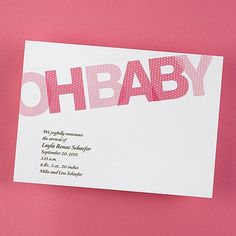 Oh Baby - Baby Girl Announcement - Bright White ~ available through www.JaniceBlackmonEvents.carlsoncraft.com