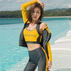 Rhyme Lady Sexy Four Pieces Women Swimwear 2019 Long Sleeve Bathing Suit Front Zipper Solid Beach Surfing Swimming Suits Bikini Swimwear, Bikinis, Beautiful Asian Girls, Ulzzang Girl, Summer Looks, Women Swimsuits, Strand, Bathing Suits, Beachwear
