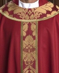 The Holy Rood Guild > Chasubles & Copes > Westbury Chasuble: liturgical vestment for priest or deacon Priest, Damask, Knitting, Red, Damascus, Tricot, Breien, Damasks, Stricken