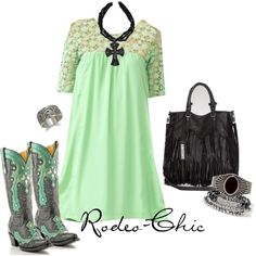 A fashion look from February 2013 featuring Corral boots, Sam Edelman tote bags and BKE bracelets. Browse and shop related looks. Country Dresses, Country Outfits, Western Dresses, Country Girl Style, Country Fashion, My Style, Western Style, Western Wear, Cowgirl Outfits
