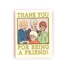 - Made in Washington - Handmade item - 4.25 X 5.5 inches - Blank Inside Thank someone, Golden Girls style, for being a friend! This card features an original illustration of all four lovely Golden Gir