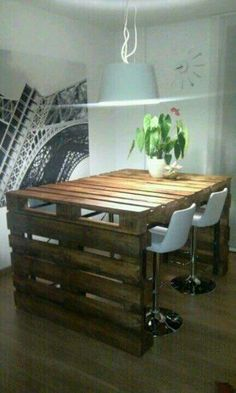 Wooden table made from crates
