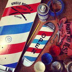 """""""Almost finished replicating this barber pole 3D skateboard to make a mini version as an """"OPEN"""" for business sign. #portmelbourne #melbourne #barberlife…"""""""