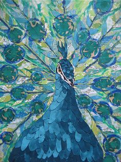 Blue Peacock Limited Edition Print by zouzousbasement on Etsy