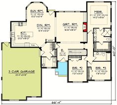 Craftsman Ranch With Sunroom - floor plan - Main Level Ranch House Plans, Craftsman House Plans, New House Plans, House Floor Plans, Craftsman Ranch, Craftsman Style, Open Concept Floor Plans, Good House, Awesome House