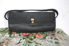 Vintage 1920's Purse // 20s Black Leather by TrueValueVintage