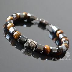 Men's bracelet Tigers Eye bracelet Healing crystal bracelet Hematite bracelet Buddha bracelet Boho e Healing Bracelets, Gemstone Bracelets, Bracelets For Men, Leather Bracelets, Mens Valentines Gifts, Valentines Jewelry, Tiger Eye Bracelet, Hematite Bracelet, Men Necklace