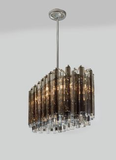 Race Track Form Smoke and Clear Glass Prism Chandelier by Venini image 4