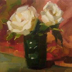 """Daily+Paintworks+-+""""White+Roses""""+-+Original+Fine+Art+for+Sale+-+©+Holly+Storlie"""