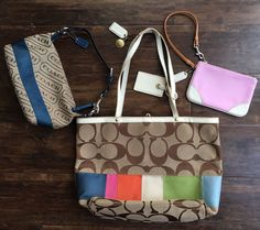 Coach Purses Tote Mini Hobo & Wristlet 3 Pieces Classic Multicolor Pink Blue #Coach #ebay