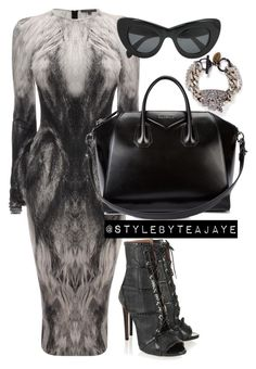 """Untitled #1883"" by stylebyteajaye ❤ liked on Polyvore featuring Alexander McQueen, Venna, Alaïa, Givenchy and CÉLINE"