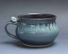 Handmade pottery soup mug ceramic chili mug cereal ice cream bowl 20 oz 3889 by BlueParrotPots on Etsy