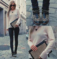 Zara Studded boots, Studded Envelope Clutch