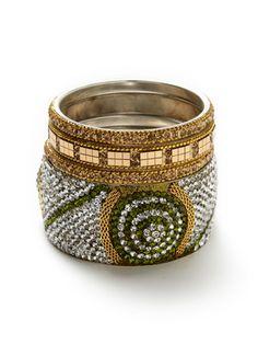 Chamak by Priya Kakkar   Set Of 4 Gold, Green, & Clear Crystal Bangle Bracelets $49